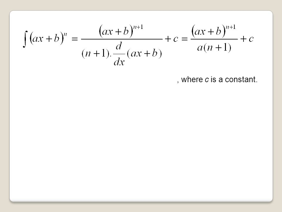 , where c is a constant.