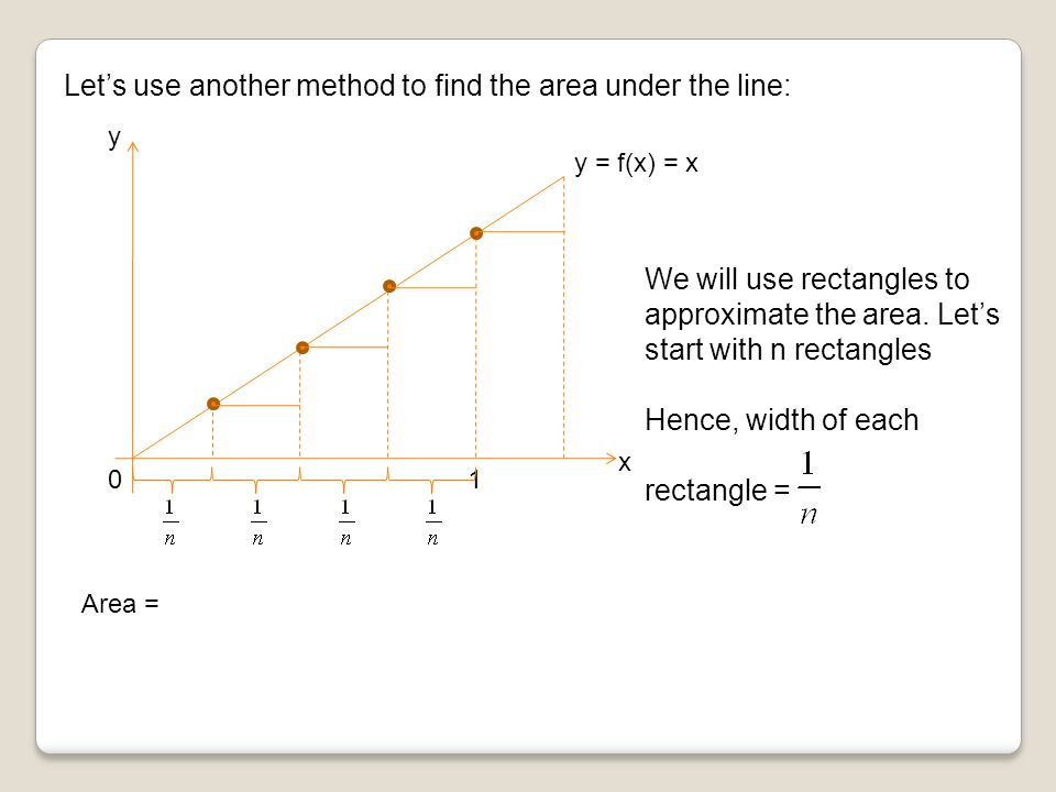 Let's use another method to find the area under the line: x y y = f(x) = x 10 Area = We will use rectangles to approximate the area.