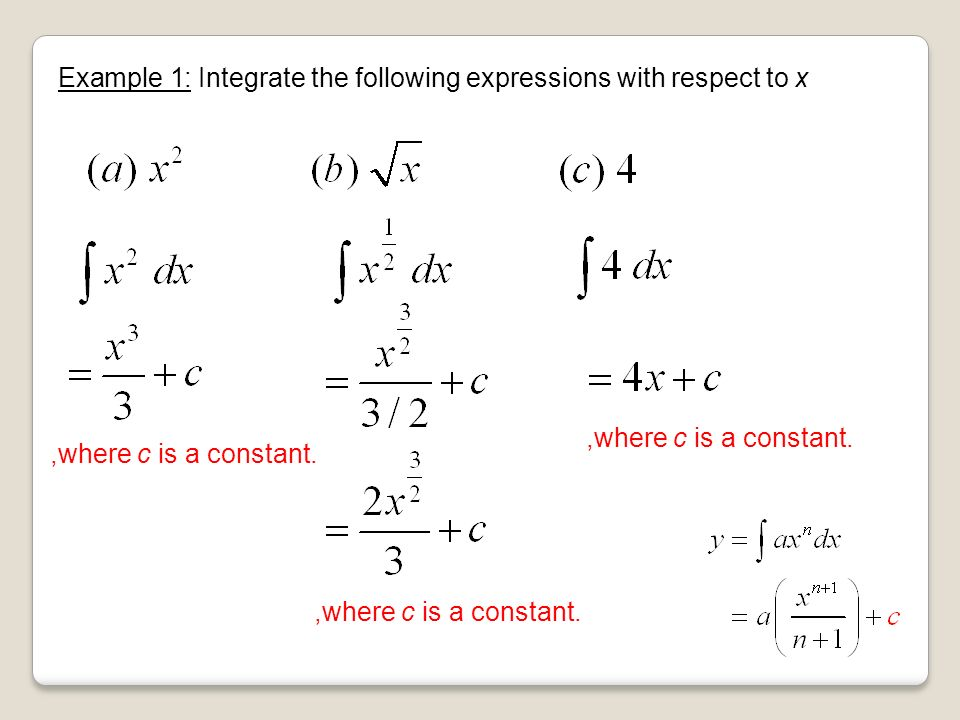Example 1: Integrate the following expressions with respect to x,where c is a constant.