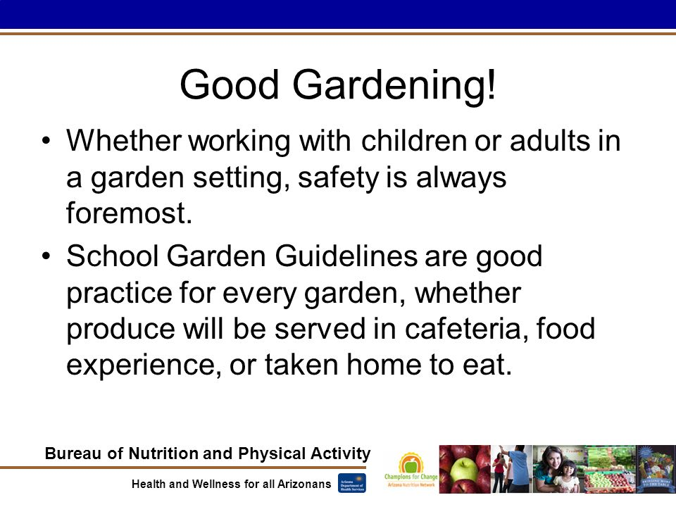 Bureau of Nutrition and Physical Activity Health and Wellness for all Arizonans Good Gardening.