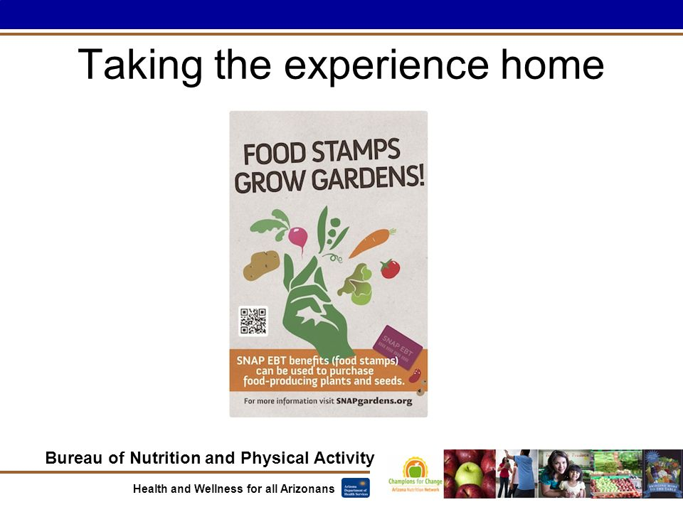 Bureau of Nutrition and Physical Activity Health and Wellness for all Arizonans Taking the experience home