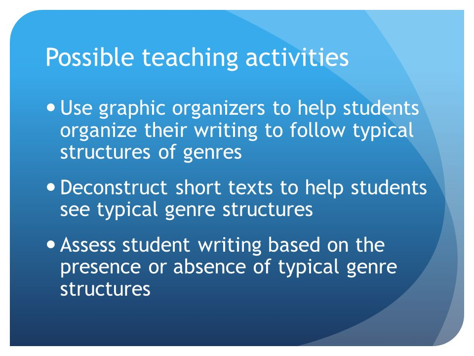Possible teaching activities Use graphic organizers to help students organize their writing to follow typical structures of genres Deconstruct short texts to help students see typical genre structures Assess student writing based on the presence or absence of typical genre structures
