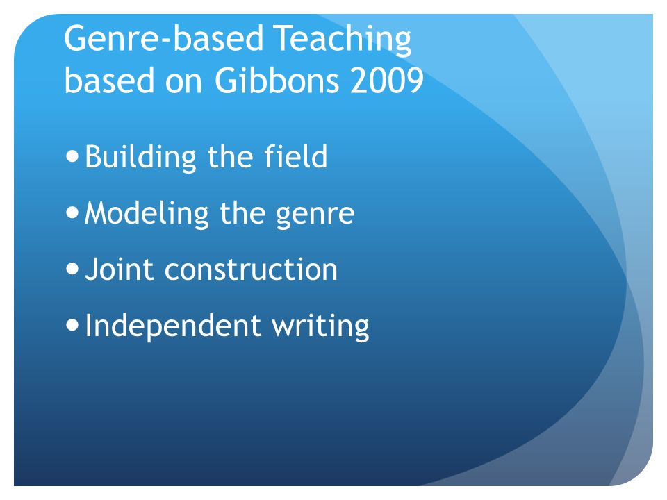 Genre-based Teaching based on Gibbons 2009 Building the field Modeling the genre Joint construction Independent writing