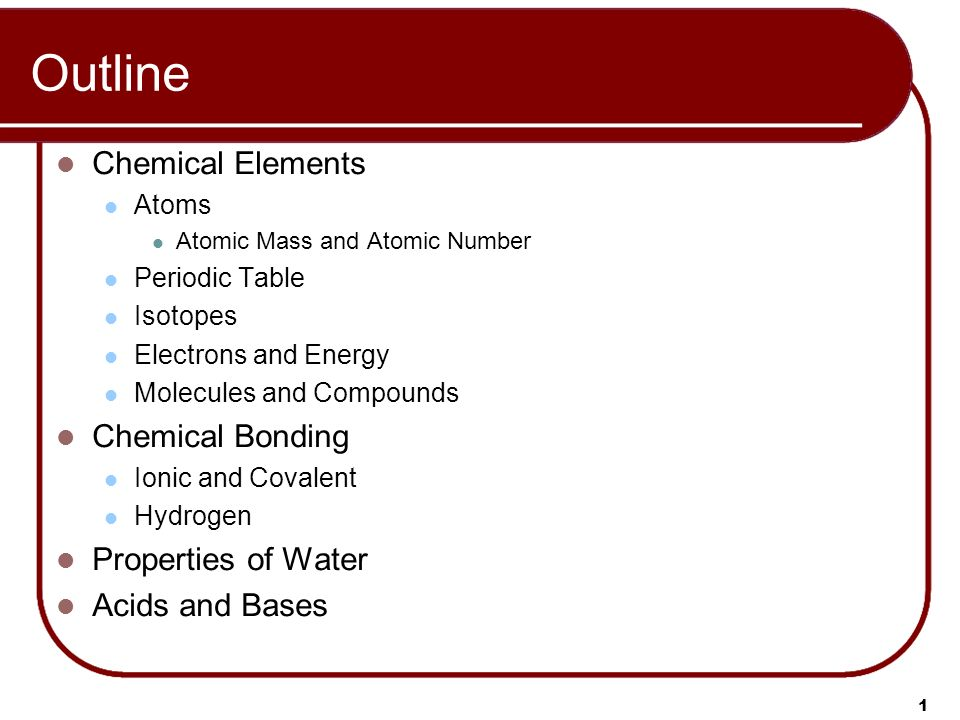 1 1 Outline Chemical Elements Atoms Atomic Mass And Atomic Number Periodic  Table Isotopes Electrons And Energy Molecules And Compounds Chemical  Bonding ...