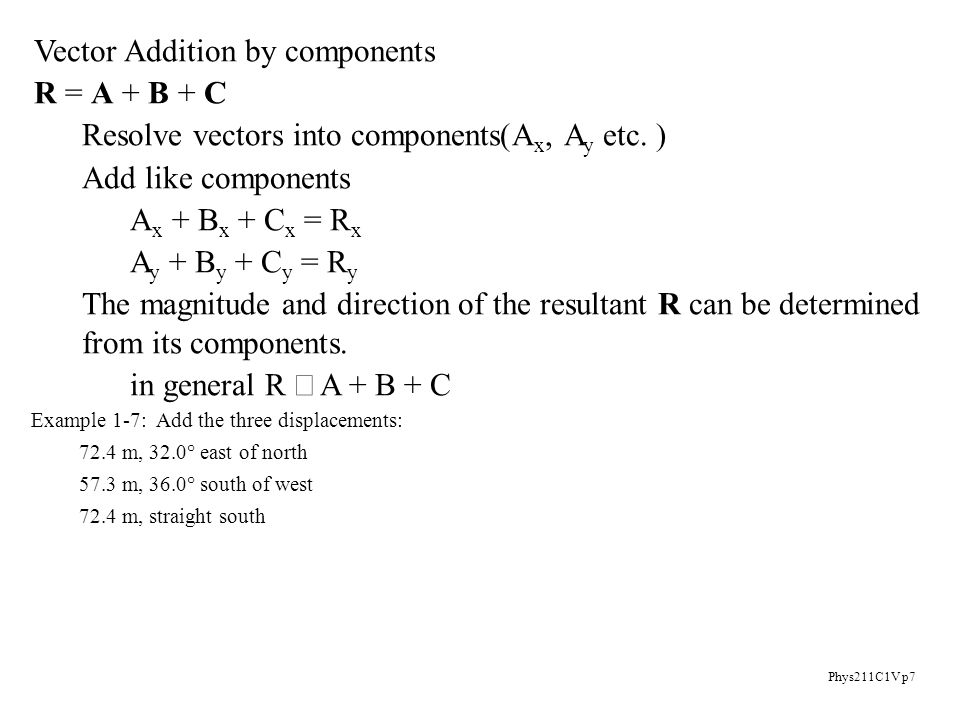 Phys211C1V p7 Vector Addition by components R = A + B + C Resolve vectors into components(A x, A y etc.
