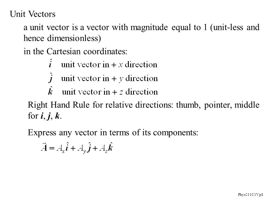 Phys211C1V p8 Unit Vectors a unit vector is a vector with magnitude equal to 1 (unit-less and hence dimensionless) in the Cartesian coordinates: Right Hand Rule for relative directions: thumb, pointer, middle for i, j, k.