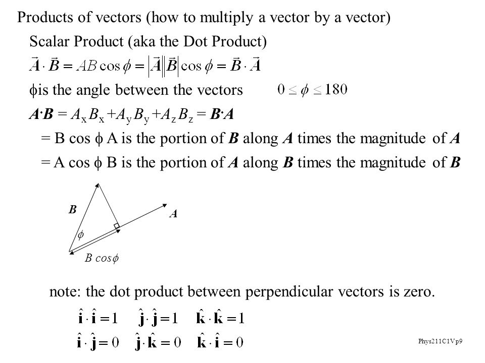 Phys211C1V p9 Products of vectors (how to multiply a vector by a vector) Scalar Product (aka the Dot Product)  is the angle between the vectors A.
