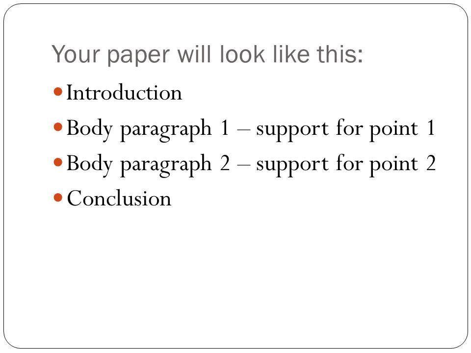 Your paper will look like this: Introduction Body paragraph 1 – support for point 1 Body paragraph 2 – support for point 2 Conclusion
