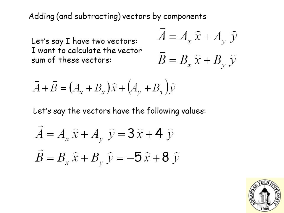 Adding (and subtracting) vectors by components Let's say I have two vectors: I want to calculate the vector sum of these vectors: Let's say the vectors have the following values: