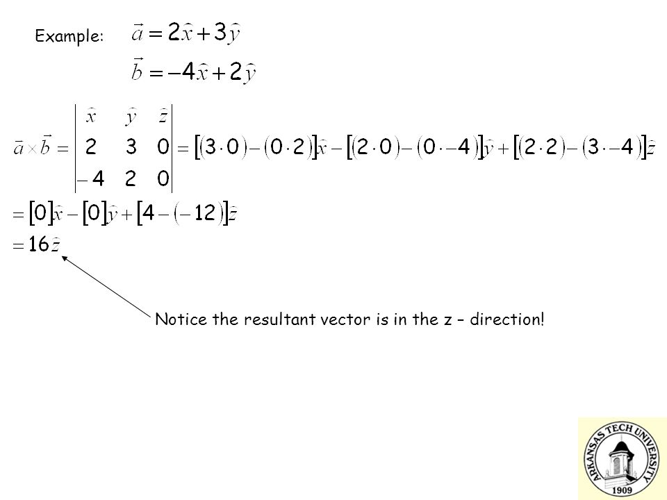 Notice the resultant vector is in the z – direction!