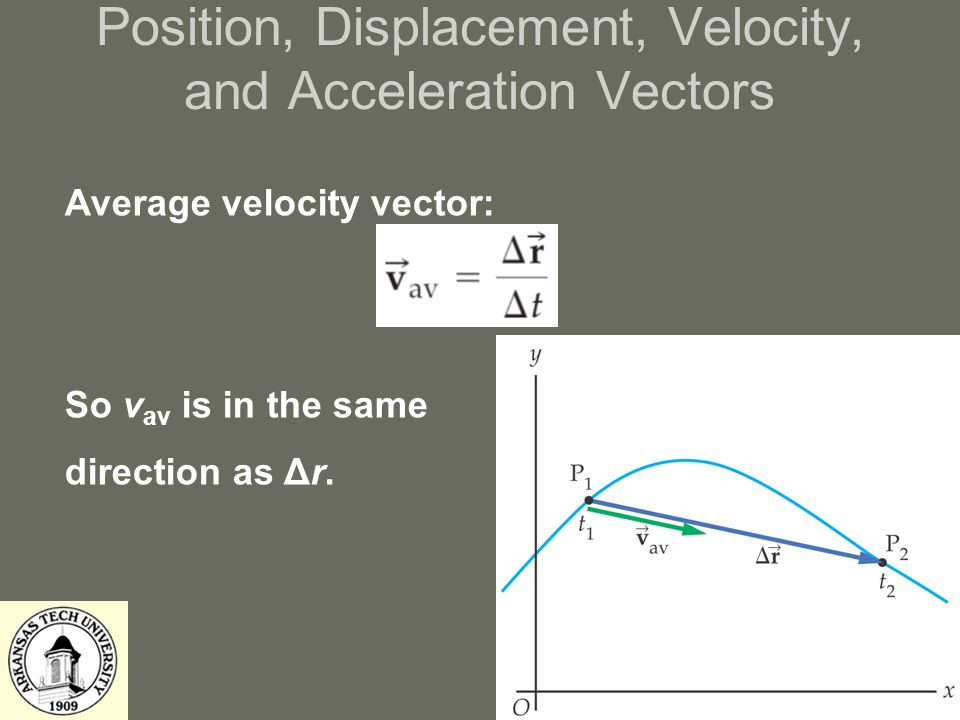 Position, Displacement, Velocity, and Acceleration Vectors Average velocity vector: So v av is in the same direction as Δr.