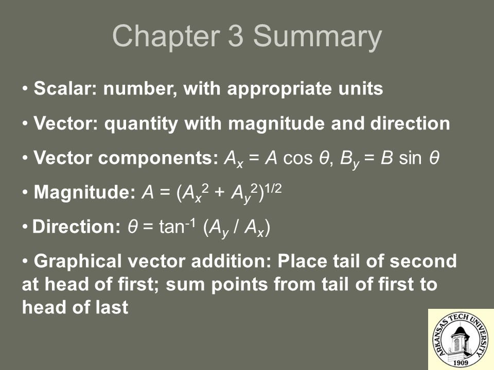 Chapter 3 Summary Scalar: number, with appropriate units Vector: quantity with magnitude and direction Vector components: A x = A cos θ, B y = B sin θ Magnitude: A = (A x 2 + A y 2 ) 1/2 Direction: θ = tan -1 (A y / A x ) Graphical vector addition: Place tail of second at head of first; sum points from tail of first to head of last