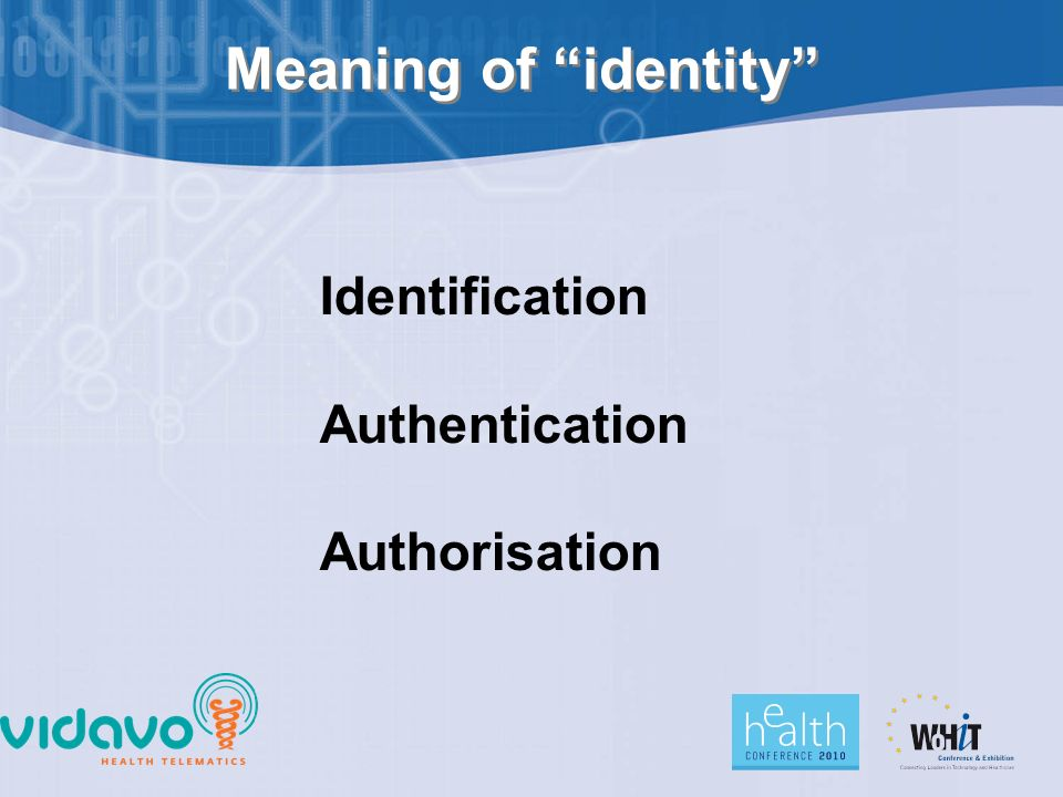 Meaning of identity Identification Authentication Authorisation