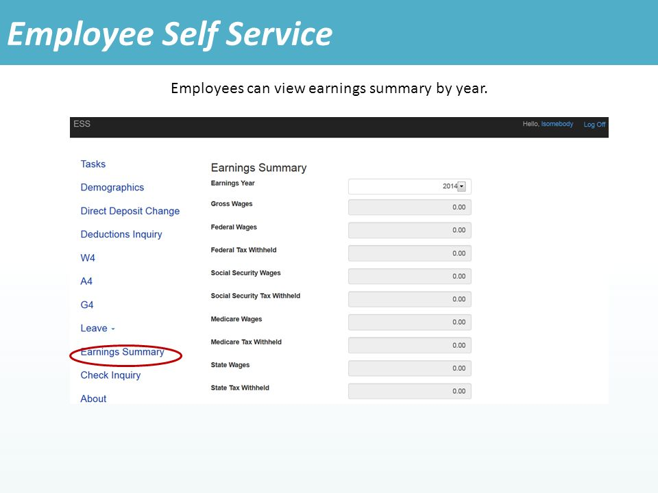 Employees can view earnings summary by year. Employee Self Service