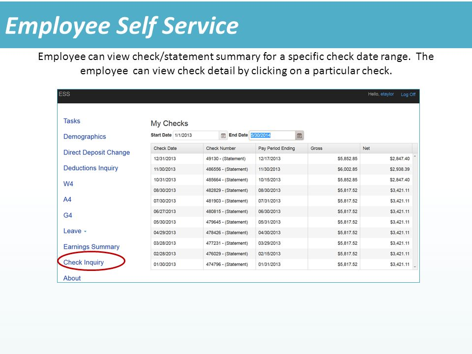 Employee can view check/statement summary for a specific check date range.