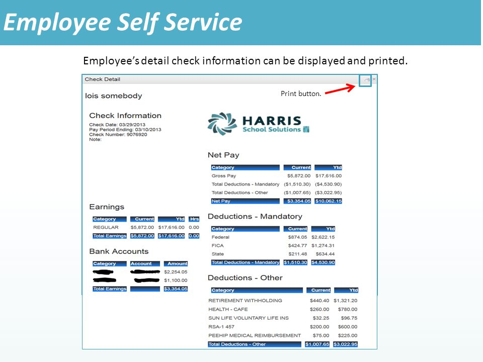 Employee's detail check information can be displayed and printed.