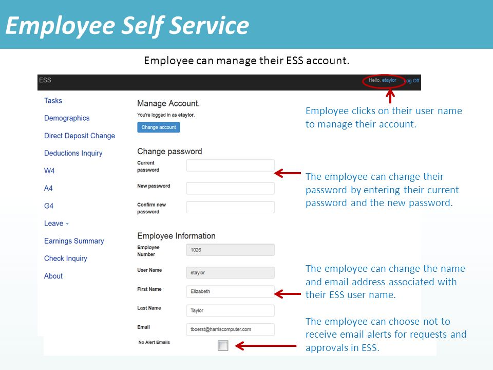 Employee can manage their ESS account.