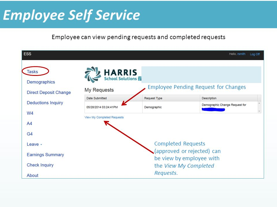 Employee can view pending requests and completed requests Employee Self Service Employee Pending Request for Changes Completed Requests (approved or rejected) can be view by employee with the View My Completed Requests.