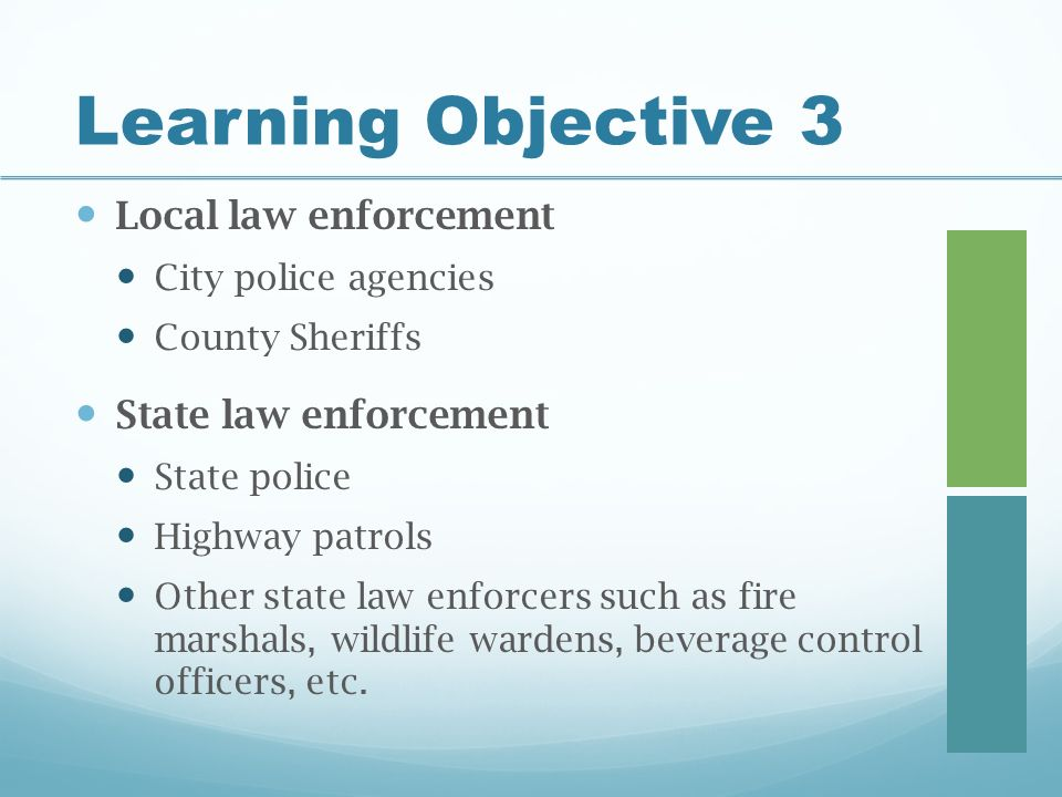 Learning Objective 3 Local law enforcement City police agencies County Sheriffs State law enforcement State police Highway patrols Other state law enforcers such as fire marshals, wildlife wardens, beverage control officers, etc.