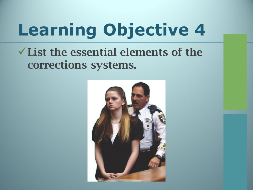 Learning Objective 4 List the essential elements of the corrections systems.