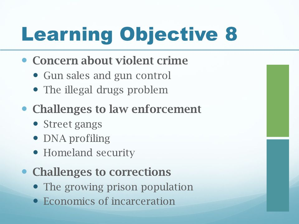 Learning Objective 8 Concern about violent crime Gun sales and gun control The illegal drugs problem Challenges to law enforcement Street gangs DNA profiling Homeland security Challenges to corrections The growing prison population Economics of incarceration