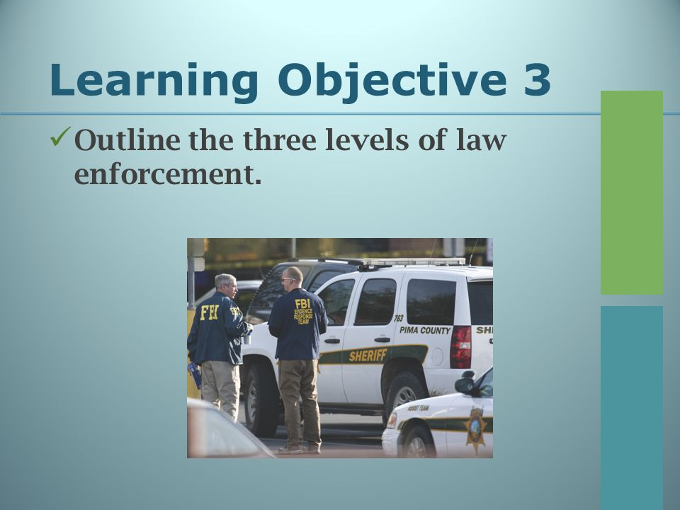 Learning Objective 3 Outline the three levels of law enforcement.