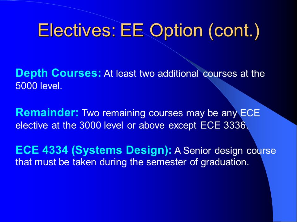 Electives: EE Option (cont.) Depth Courses: At least two additional courses at the 5000 level.