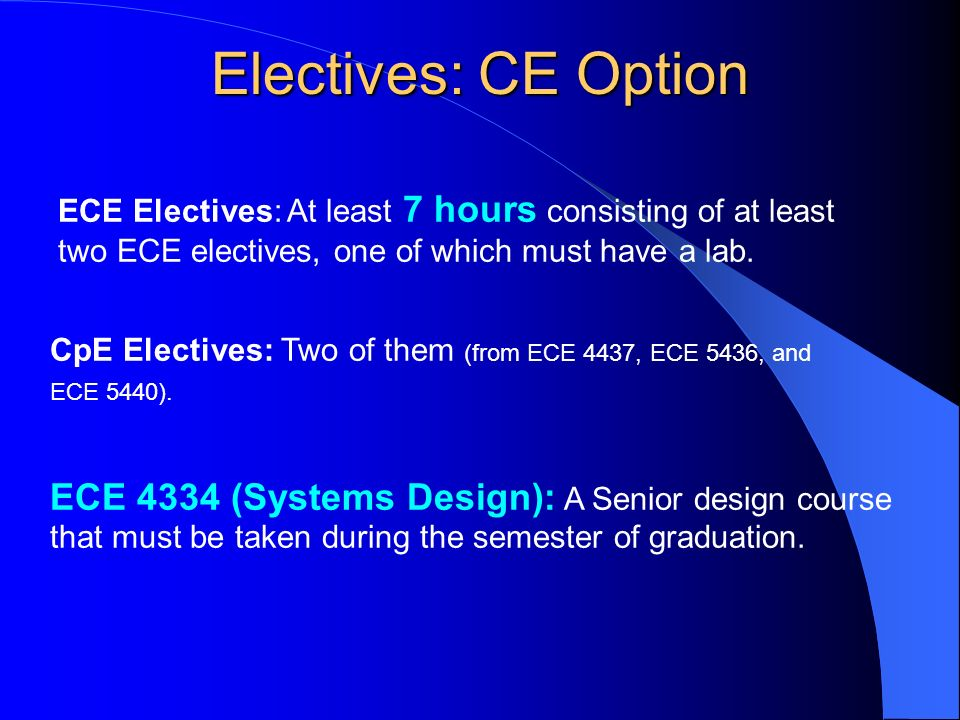 ECE Electives: At least 7 hours consisting of at least two ECE electives, one of which must have a lab.