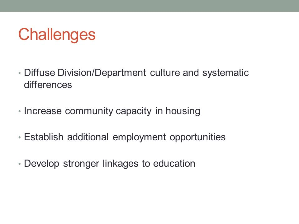 Challenges Diffuse Division/Department culture and systematic differences Increase community capacity in housing Establish additional employment opportunities Develop stronger linkages to education