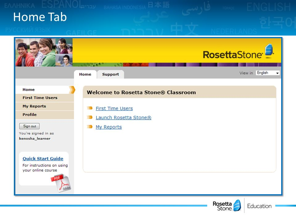 Rosetta Stone Course Online  Type in your account web