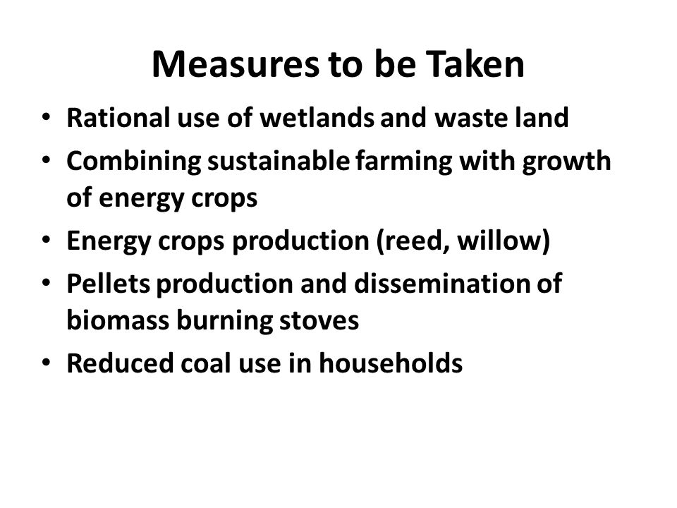Measures to be Taken Rational use of wetlands and waste land Combining sustainable farming with growth of energy crops Energy crops production (reed, willow) Pellets production and dissemination of biomass burning stoves Reduced coal use in households