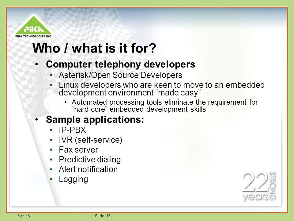 PIKA WARP the Appliance for Linux / Asterisk  Sep-15 Slide 2