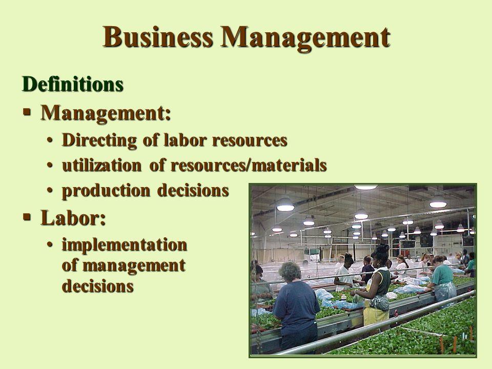 BUSINESS MANAGEMENT  Business Management Definitions