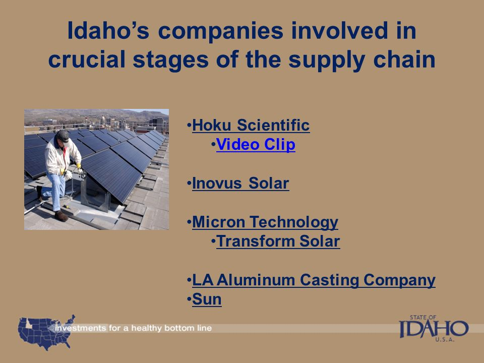 October 2010 Idaho's Emerging Green Industry Presented by Jennifer