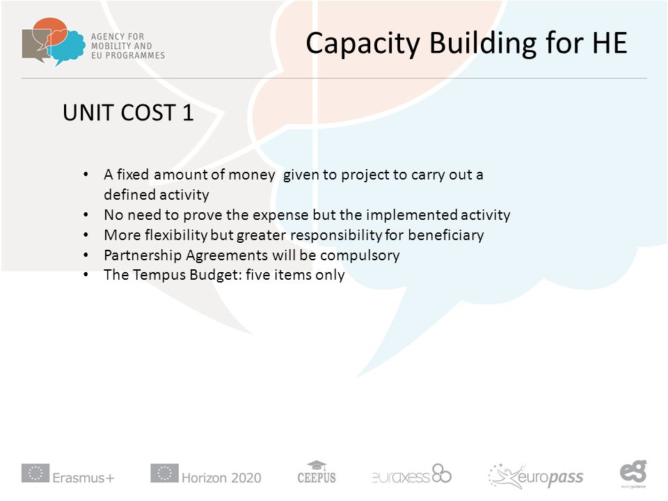 Capacity Building for HE UNIT COST 1 A fixed amount of money given to project to carry out a defined activity No need to prove the expense but the implemented activity More flexibility but greater responsibility for beneficiary Partnership Agreements will be compulsory The Tempus Budget: five items only