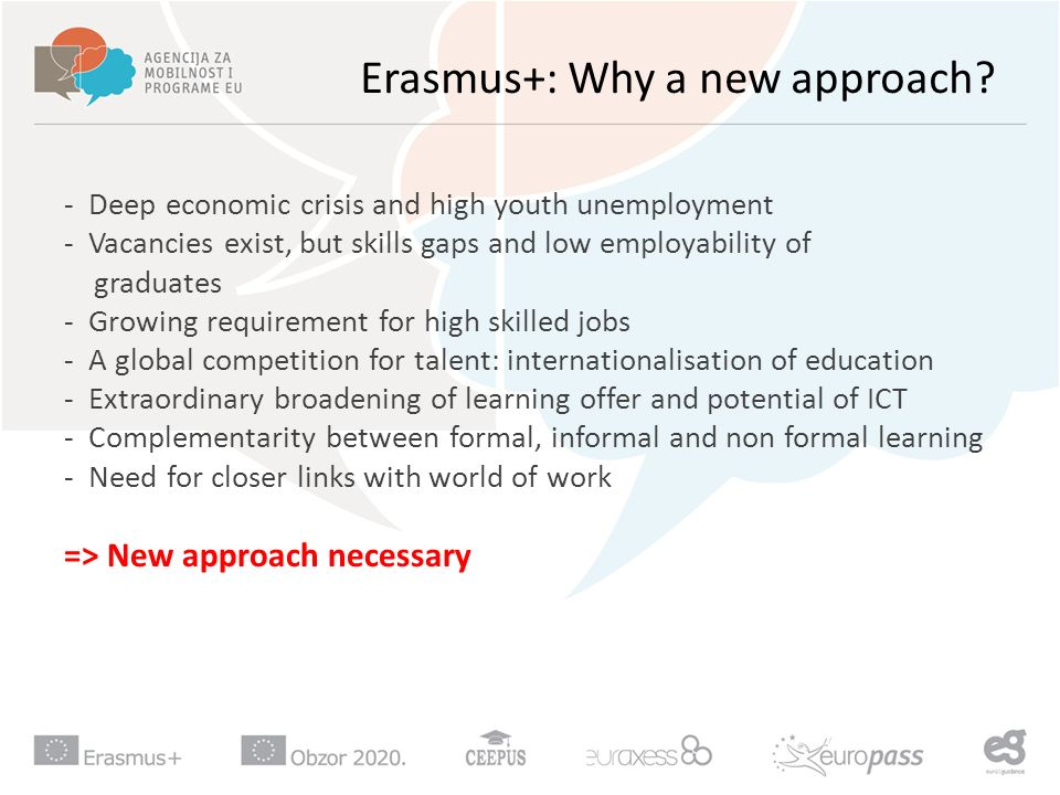 Erasmus+: Why a new approach.