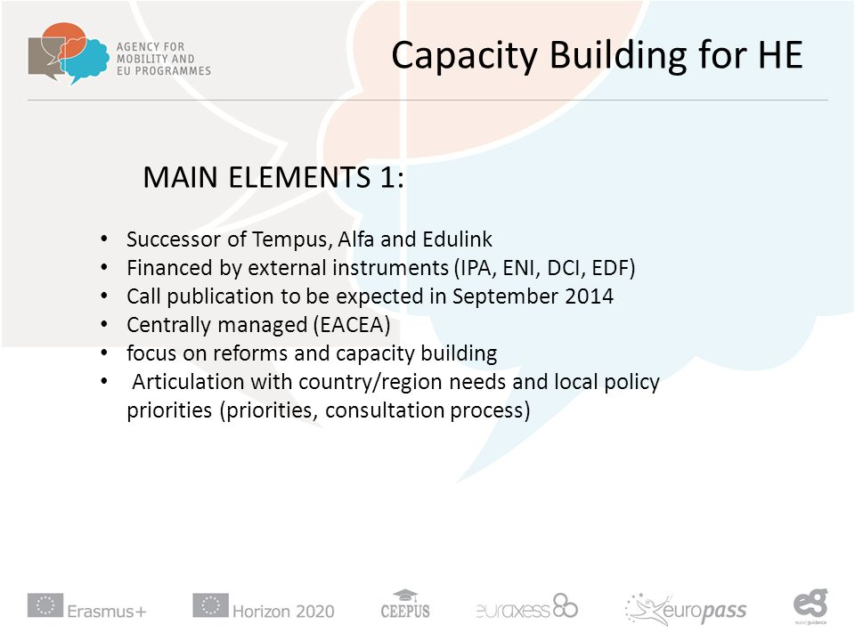 Capacity Building for HE MAIN ELEMENTS 1: Successor of Tempus, Alfa and Edulink Financed by external instruments (IPA, ENI, DCI, EDF) Call publication to be expected in September 2014 Centrally managed (EACEA) focus on reforms and capacity building Articulation with country/region needs and local policy priorities (priorities, consultation process)