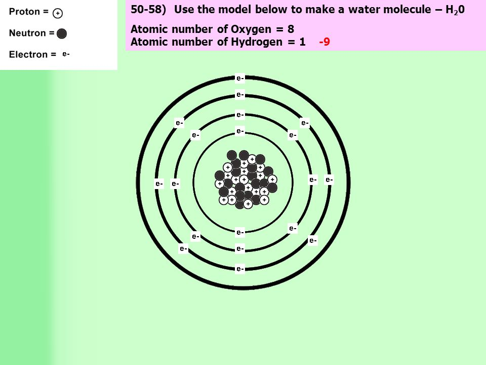 50-58) Use the model below to make a water molecule – H 2 0 Atomic number of Oxygen = 8 Atomic number of Hydrogen = 1 -9