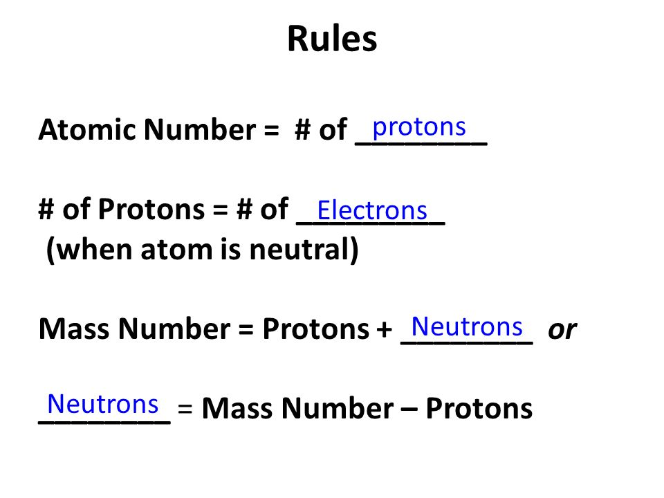 Rules Atomic Number = # of ________ # of Protons = # of _________ (when atom is neutral) Mass Number = Protons + ________ or ________ = Mass Number – Protons protons Electrons Neutrons