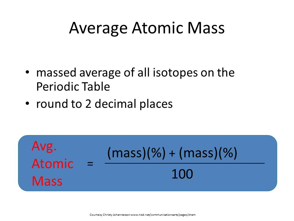 Virtually everything that is is made up of atoms chapter 12 page average atomic mass massed average of all isotopes on the periodic table round to 2 decimal urtaz Images