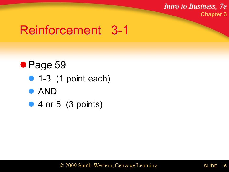 Intro to Business, 7e © 2009 South-Western, Cengage Learning SLIDE Reinforcement3-1 Page (1 point each) AND 4 or 5 (3 points) Chapter 3 16