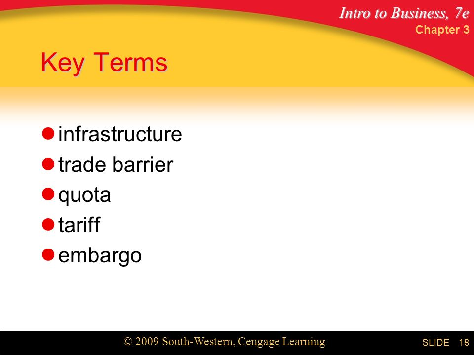 Intro to Business, 7e © 2009 South-Western, Cengage Learning SLIDE Chapter 3 18 Key Terms infrastructure trade barrier quota tariff embargo