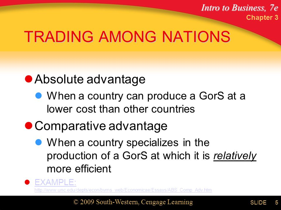 Intro to Business, 7e © 2009 South-Western, Cengage Learning SLIDE Chapter 3 5 TRADING AMONG NATIONS Absolute advantage When a country can produce a GorS at a lower cost than other countries Comparative advantage When a country specializes in the production of a GorS at which it is relatively more efficient EXAMPLE:   EXAMPLE: