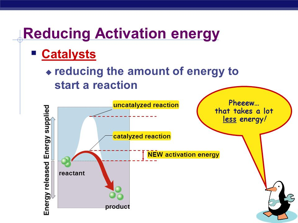 Too much activation energy for life  Activation energy  amount of energy needed to destabilize the bonds of a molecule  moves the reaction over an energy hill Not a match.