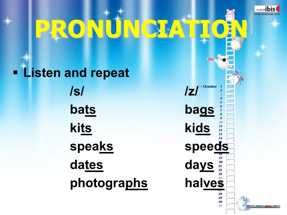 PRONUNCIATION  Listen and repeat /s//z/ batsbags kitskids speaksspeeds datesdays photographshalves