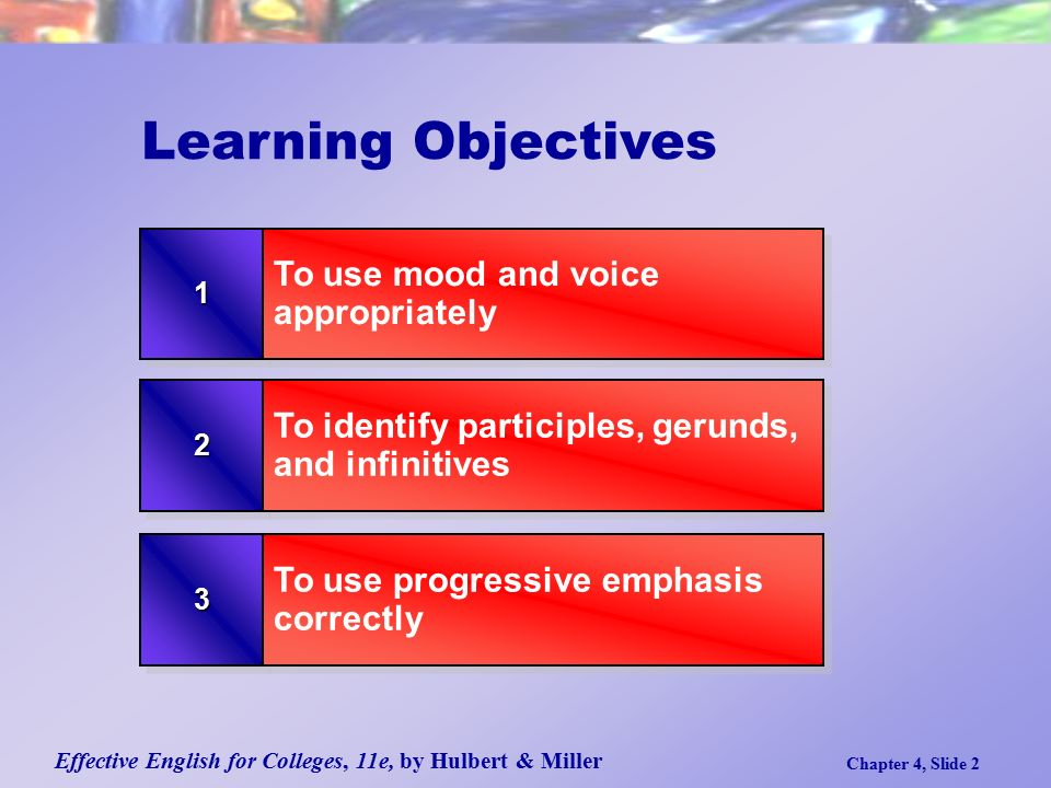 Effective English for Colleges, 11e, by Hulbert & Miller Chapter 4, Slide 2 Learning Objectives To identify participles, gerunds, and infinitives To use progressive emphasis correctly 11 To use mood and voice appropriately