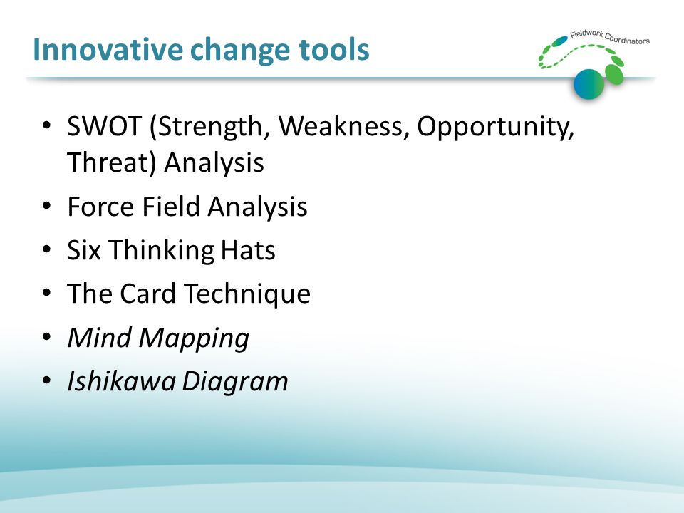 Innovative change tools SWOT (Strength, Weakness, Opportunity, Threat) Analysis Force Field Analysis Six Thinking Hats The Card Technique Mind Mapping Ishikawa Diagram