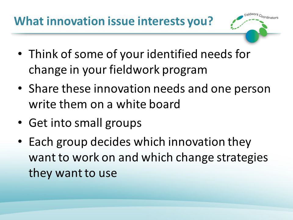What innovation issue interests you.