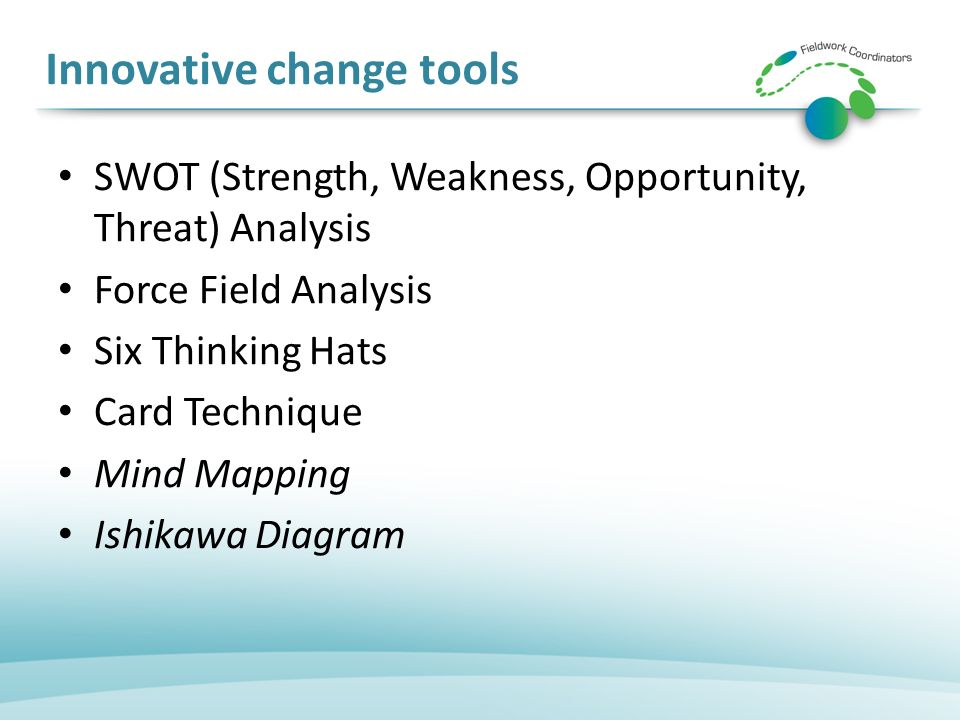Innovative change tools SWOT (Strength, Weakness, Opportunity, Threat) Analysis Force Field Analysis Six Thinking Hats Card Technique Mind Mapping Ishikawa Diagram