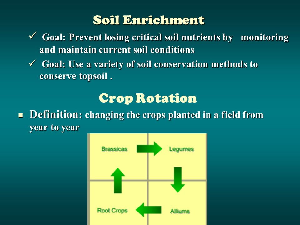 Goal: Prevent losing critical soil nutrients by monitoring and maintain current soil conditions Goal: Prevent losing critical soil nutrients by monitoring and maintain current soil conditions Goal: Use a variety of soil conservation methods to conserve topsoil.